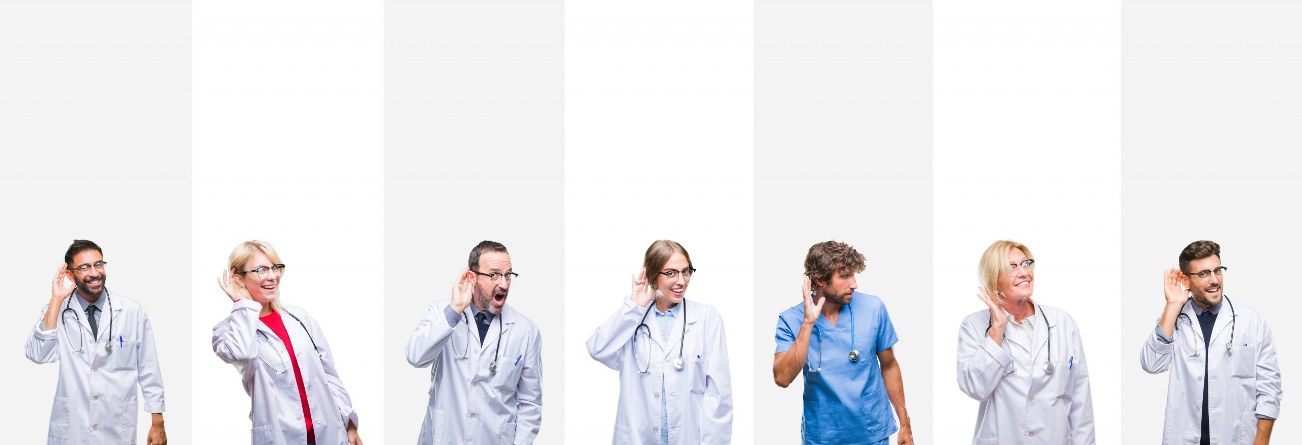 Group of audiologists over stripes isolated background smiling with hand over ear listening.